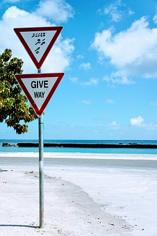 Paradise, Give Way, Right Of Way, Beach, Road Sign