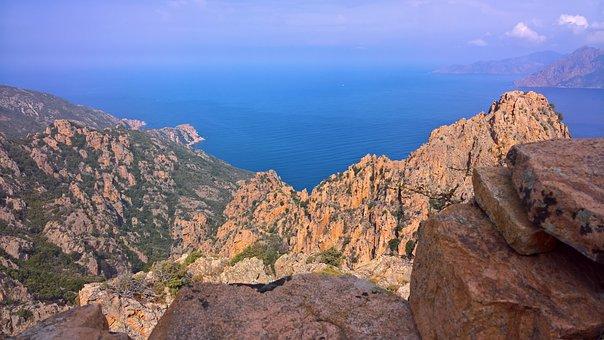 Corsica, Porto, Red, Rock, Sea, Cliff, Calanche