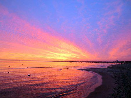 Timmendorfer Beach, Sunrise, Baltic Sea, Skies