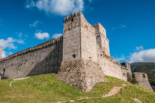 Castle, Assis, Sky, Fort, Clouds, Tower, Ruin, Wall