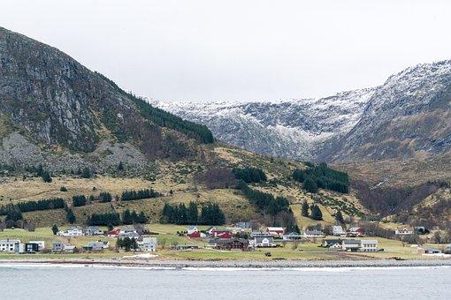Norway Coast, Mountains, Snow, Architecture