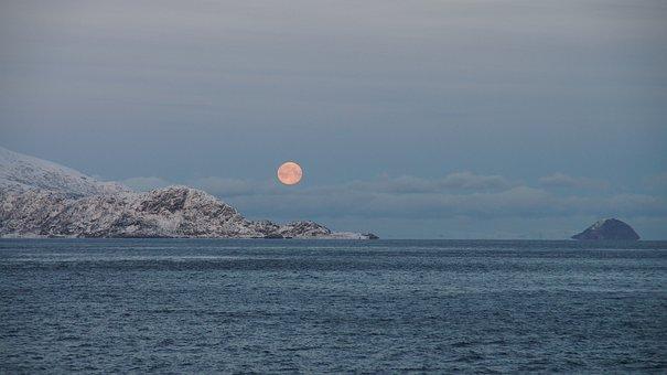 Moon, Mountain, Sea, Norwegian Fjord, The Nature Of The