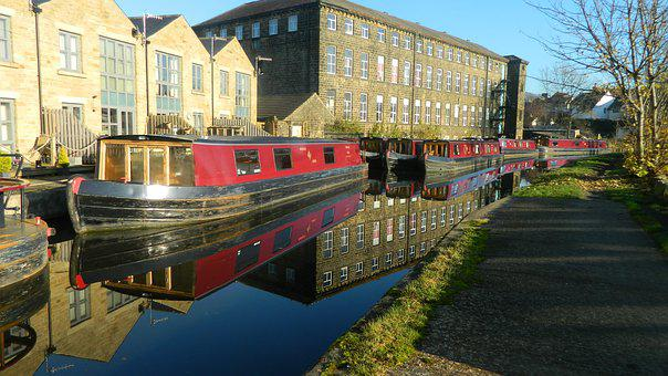 Canal, Barge, Boat, Waterway