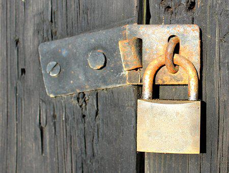 Padlock, Weather-beaten, Shed