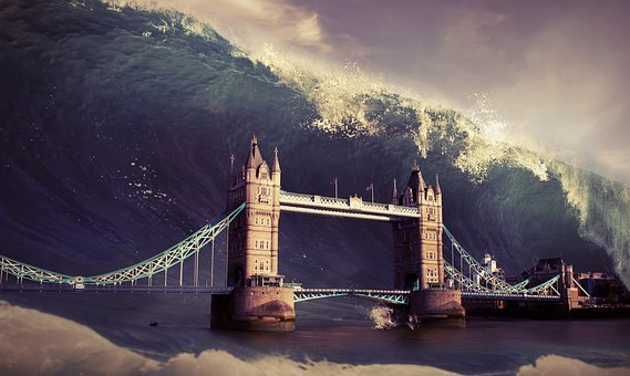 Wave, Tower, Bridge, Flood, Apocalypse, Background