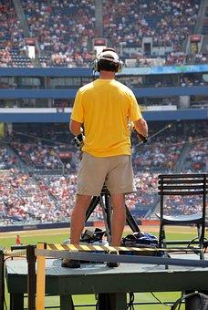 Television Camera Man, Camera, Video, Baseball Game