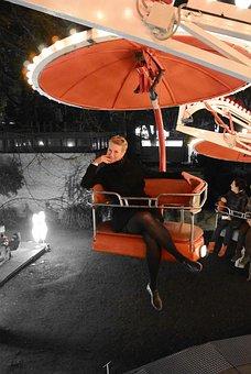 Carousel, Red, Leisure, Fun, Biennale, Lady, Theme Park