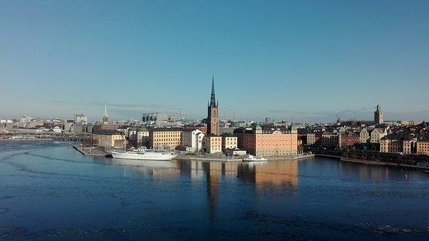 Stockholm, Sweden, City, Scandinavia, Sea, Ship, Sky