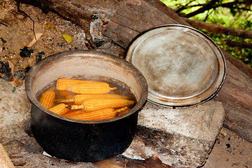 Corn On The Cob, Cooking Pot, Campfire, Boiling Water