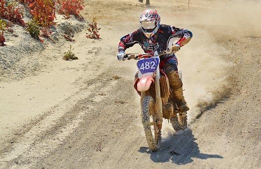 Dirt Bike, Motocross Rider, Scramble, Dust, Motocross