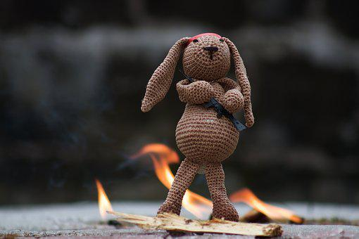 Hare, Fabric Bunny, Stuffed Animal, Fire, Fun, War