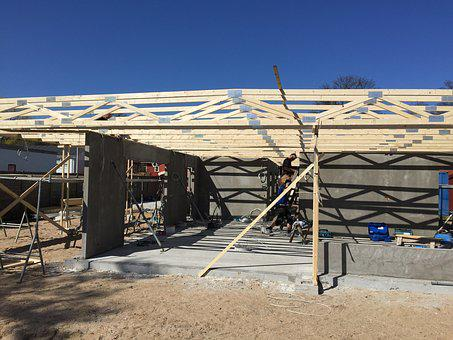 New Construction, Rafter, Flat Roof, Wood Construction