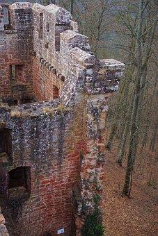 Ruin, Castle, Fortification, Sandstone, France, Pierre