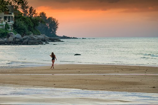 Sunset, Woman, Girl, Walking, Beach, Sand, Palm, Trees