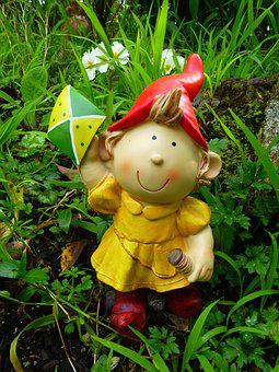 Gnome, Kite, Girl, Cute, Yellow, Playing, Outdoor