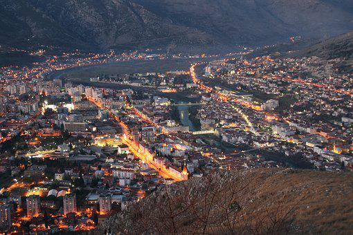City, Night, Cityscape, Mostar