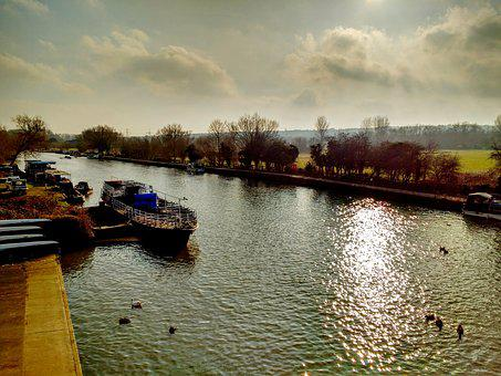 River, Thames, Oxford, Boat, Water, Sun, Reflection