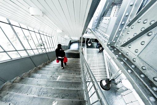 Staircase, Paris, Metro, France, City