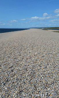 Beach, Pebbles, Summer, Sea, Blue Sky, Chesil Beach