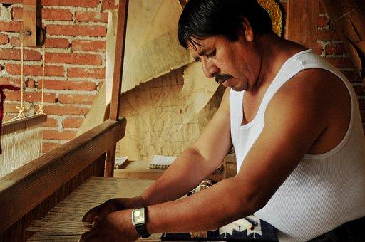 Craftsman, Loom, Mat, Mexico, Oaxaca, Teotitlán