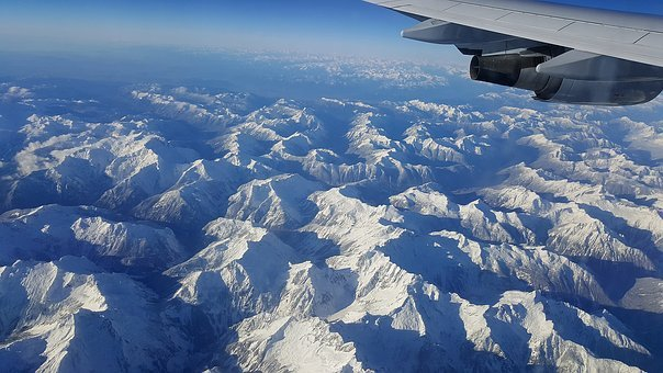 Airplane View, Mountains, Above, Landscape, Top, Flight