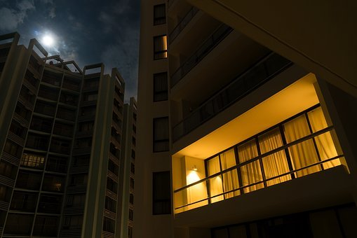 Night, Light, Apartment, Flat, Balcony, Alone, Moon