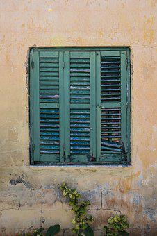 Window, Wooden, Green, Wall, House, Architecture