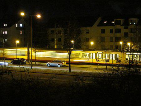Unfinished, Trams, Night, Autos, Road, Homes, Gleise