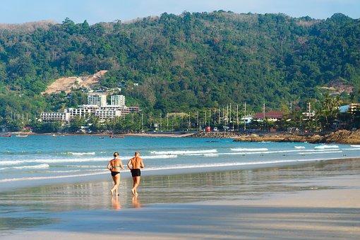 Beach, Running, Old, Couple, People, Summer, Run, Ocean