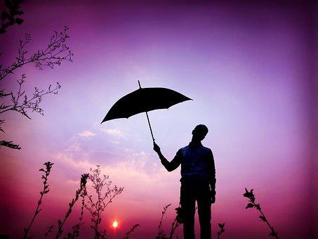 Silhouette, Umbrella, Beautiful, Weather, Rain, Season