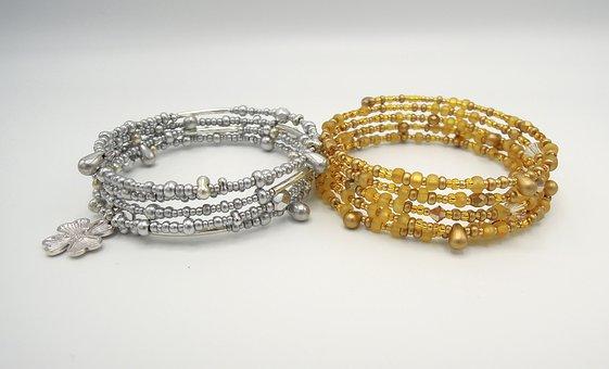 Jewelry, Bracelet, Beads, Gold, Silver