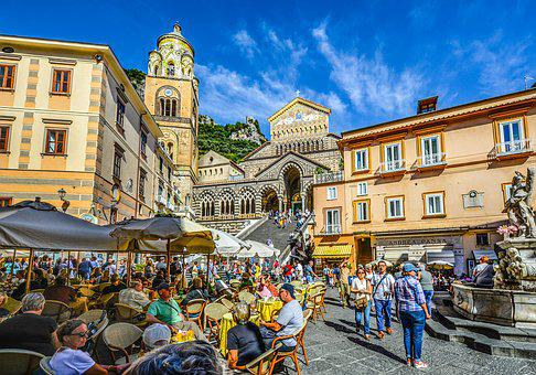 Amalfi, Square, Italy, Crowds, Coast, Church, Cathedral