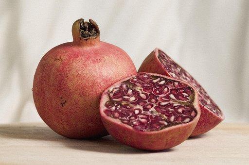 Pomegranate, Fruit, Halved, Neutral, Pale, Light