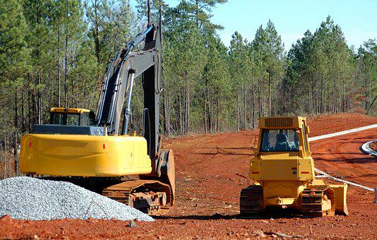 Construction Site, Heavy Equipment, Bulldozer, Backhoe