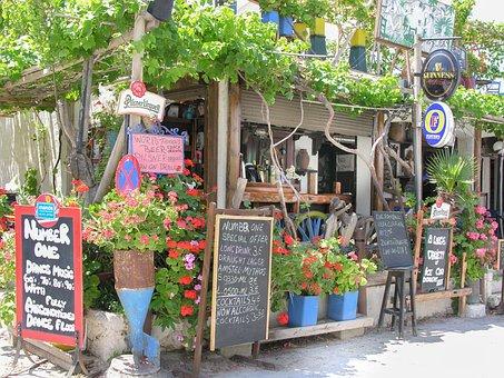 Kos, Greek Island, Restaurant, Menu List, Flowers