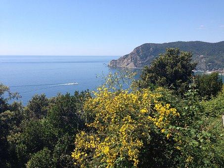 Sea, Cinqueterre, Liguria, Italy, Mountain, Houses