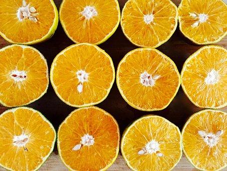 Oranges, Orange, Yellow, Cut, Slice, Half, Fruit, Juicy