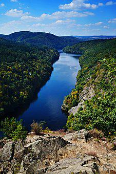 River, Canyon, Blue, Rocks, View
