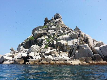 Rock, Sea, Island, Water, Stones, Landscape, Seascape
