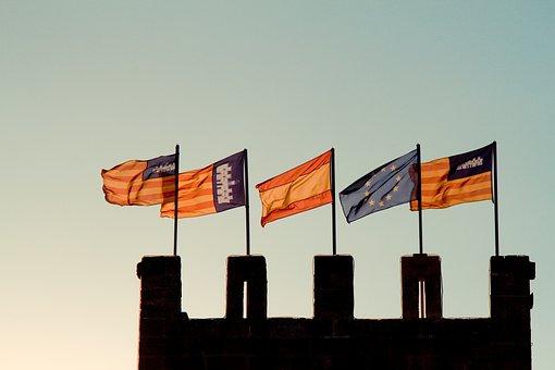 Flag, Spain, Castle, Spanish Flag, Slots, Sky, Wind