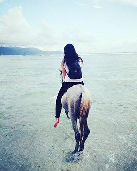 Horse, Woman, Beach, Bali, Indonesia, Asia, Balinese
