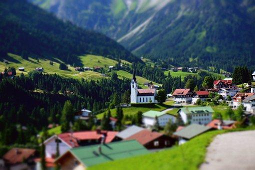 Mountain, Village, Church, Hirschegg, Austria, Alpine