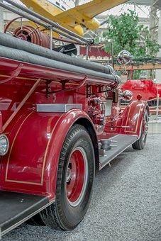 Fire Truck, Fire, Antique, Retro, Red, Auto, Oldtimer