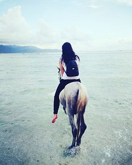 Horse, Woman, Beach, Bali, Indonesia, Asia, Balinese