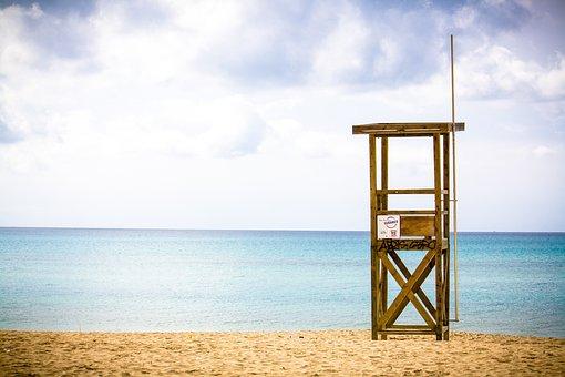 Sea, Beach, Ocean, Lifeguard On Duty, Tower