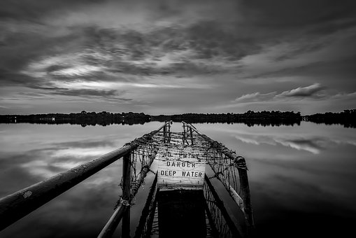 Lake, Water, Reflections, Black And White, Pier, Dock
