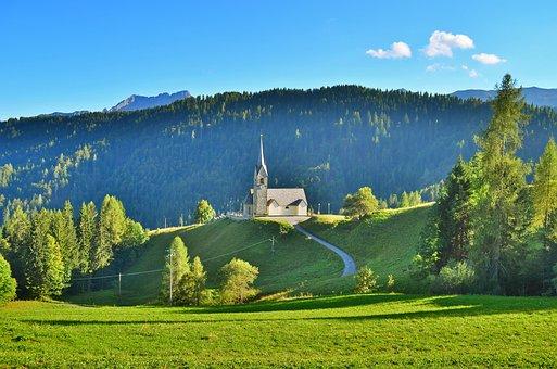 Sauris, Mountain, Church, Campanile, Italy, Landscape
