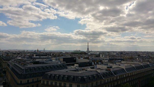 Paris, Eiffel Tower, Cloudy, Skyline