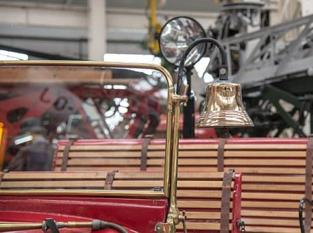 Fire, Fire Truck, Antique, Retro, Red, Auto, Oldtimer