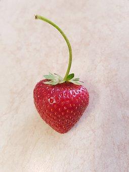 Strawberry, Close-up, Red, Food, Fruit, Fresh, Leaf